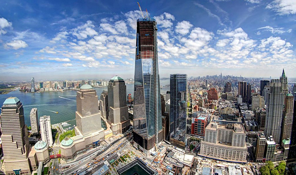 A picture of One WTC under construction